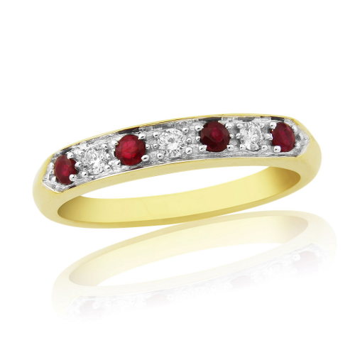 Yellow Gold Ruby And Diamond Eternity Ring